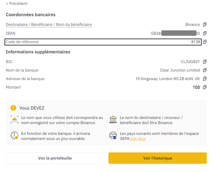 confirmation virement bancaire binance achat bitcoin